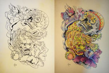 Tattoo design - Japanese Foo Dog and Skull by Xenija88