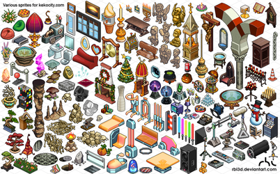 Lots of isometric objetcs for Kekocity.com by rbl3d