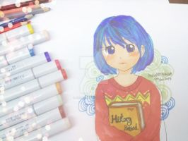 Anime Girl with copic marker 2 by angiewaiwai