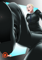 Commission ~ Looming Visage (small free web ver) by SpokleArt