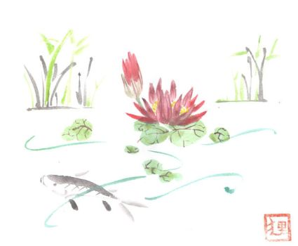 Flower and Fish by vrlovecats