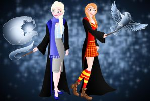 Disney Hogwarts students: Anna And Elsa by Willemijn1991