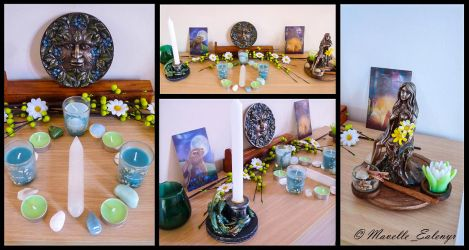 Imbolc / Candlemas Altar - 2017 by Mavelle-Ealenyr