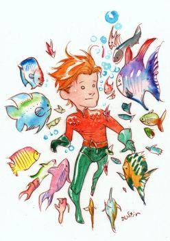 aquaman and fishies by duss005