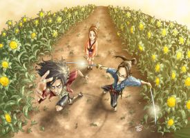 thetrioatthesunflowerfield by Samurai-Champloo-Clu