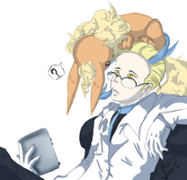 Colress and Flareon (Delta) by PrincessYoshi