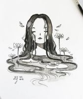 Inktober 2018 - Nature Creature 06 : Waterlily by Ludmila-Cera-Foce