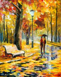 Lovers In Autumn by Leonid Afremov by Leonidafremov