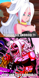 How We See Android 21 VS. How Link Sees Her meme by RioluLucarioFan9000