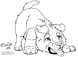 Free lineart:Puppy's play call by SaQe
