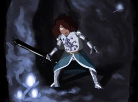 Lady Knight in the Dragon's Cave by ThisIsArtMaybe
