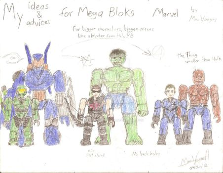 My ideas for Marvel Mega Bloks - Big sizes by TheMVAproductions