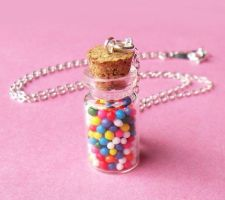 Rainbow Candy Bottle Necklace by AsianBunni