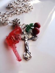 DiceCross+PistolCherry Necklac by Tattooed-Gumball