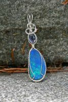 Opal and Iolite Raindrop by magpie-poet