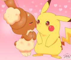 Kissing To Pikachu by jirachicute28