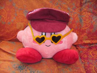 Kirby with hat and glasses by Insanityrules
