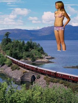 scenic train ride by giantess by museman1