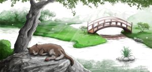 Cat sleeping in a japanese garden by Aerinn-I