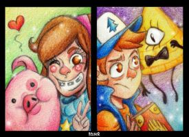Mystery Twins ACEO-Cards by Cora-Dilcoroc