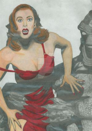 Gillian Anderson and Creature from Black Lagoon by JesseAllshouse