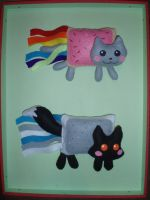 Nyan cat and fox comparing by Ishtar-Creations