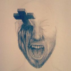 A guy getting stabbed in the eye by a cross  by 126MorbidPoetry