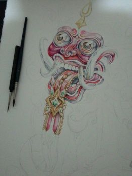 wip rangda - watercolors by tolagunestro