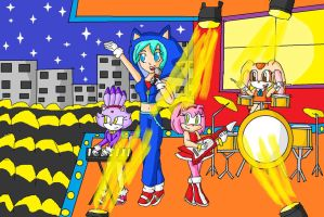 Hatsune Miku's band by ninpeachlover