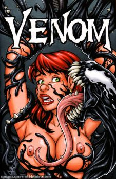 Naughty Mary Jane + Venom bust cover by gb2k