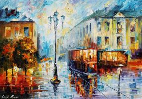 Old Street 3 by Leonid Afremov by Leonidafremov