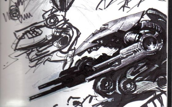 mech drawing in sharpie by Sigint