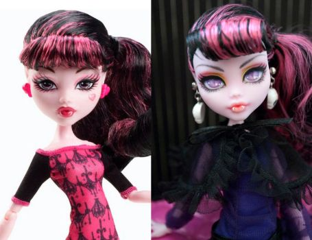 MH Repaint: Scaris Draculaura Comparison by ivy-cinder
