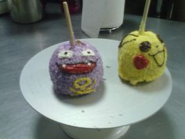 Koffing and pikachu candy apples