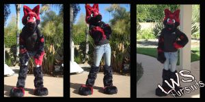 Black and Red Fox Half Suit by LWStudios