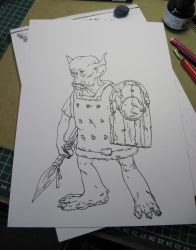 Goblin - dip pen drawing by JerryBoucher