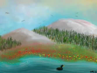 Mountains, flowers and streams by Contix