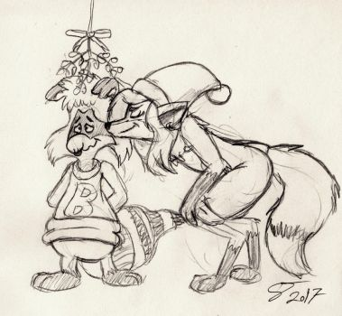 Bert under the Mistletoe with Mistel by rodrev