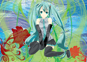 Miku 3 with a background by xShjx