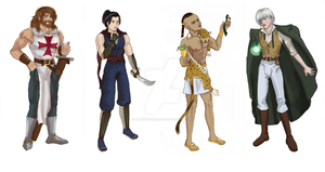 Team of Male Chars_Colored by lapetite-paulette
