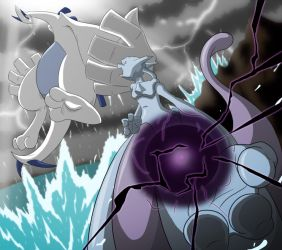 Cat vs Bird_Mewtwo and Lugia by TFSubmissions