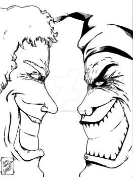 Joker vs Green Goblin by mentaldiversions