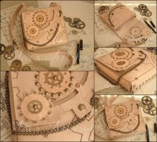 Technical Sketch Steampunk Leather Pouch by izasartshop