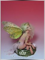 Golden Cicada Fairy OOAK Sculpture by bornbrightdolls