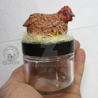 OOAK Red Hen with Chicks Decorative Jar by M-J-Albert