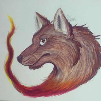 Wolf on fire by Lottarts