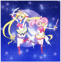 Sailor Moon and ChibiMoon by StarMVenus