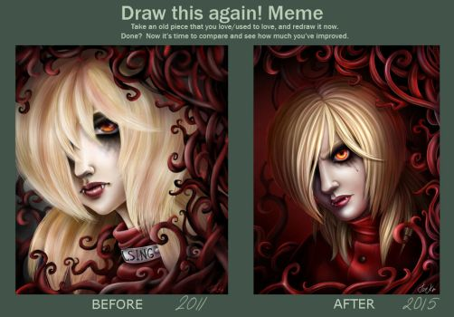 Draculina. Draw this again meme by TomkaViolea