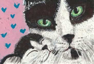 Mother  and baby  cat watercolor acrylic  painting by tulipteardrops