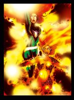 Phoenix and Tephra colored by darylosaurus